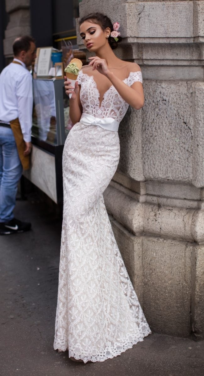 Lace mermaid gown with deep neckline | Tarik Ediz