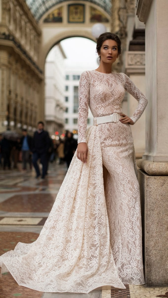 Wedding dress with overskirt and long sleeves | Long sleeve lace Tarik Ediz wedding dress