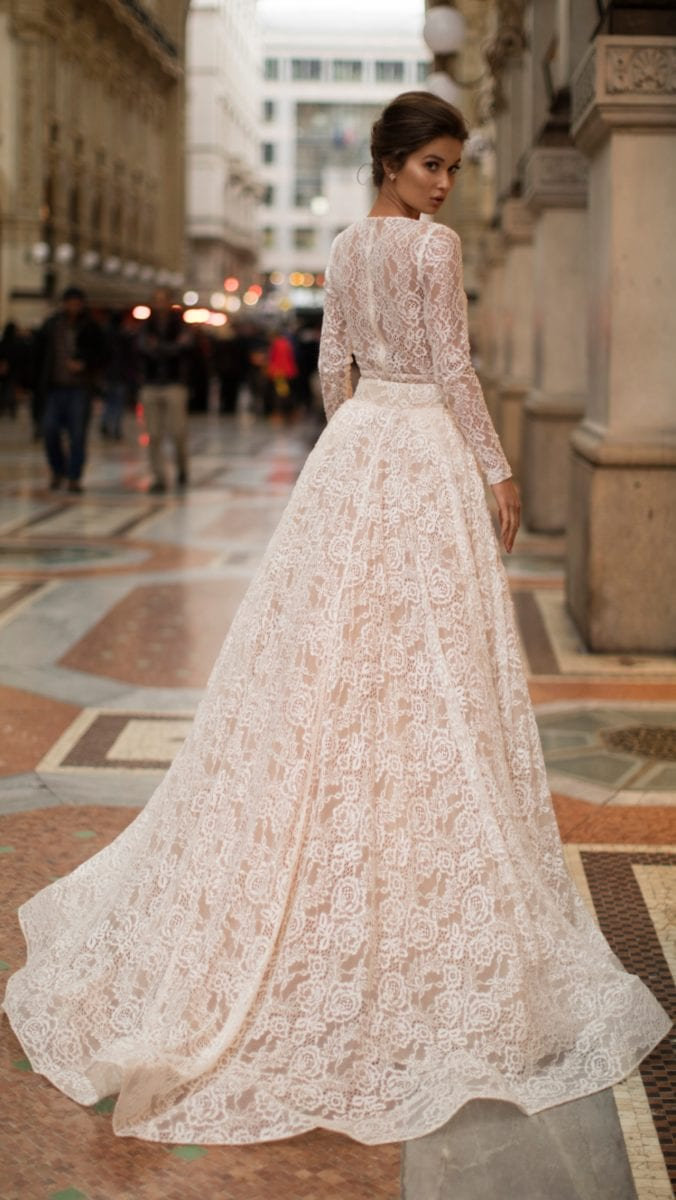Long sleeve lace Tarik Ediz wedding dress