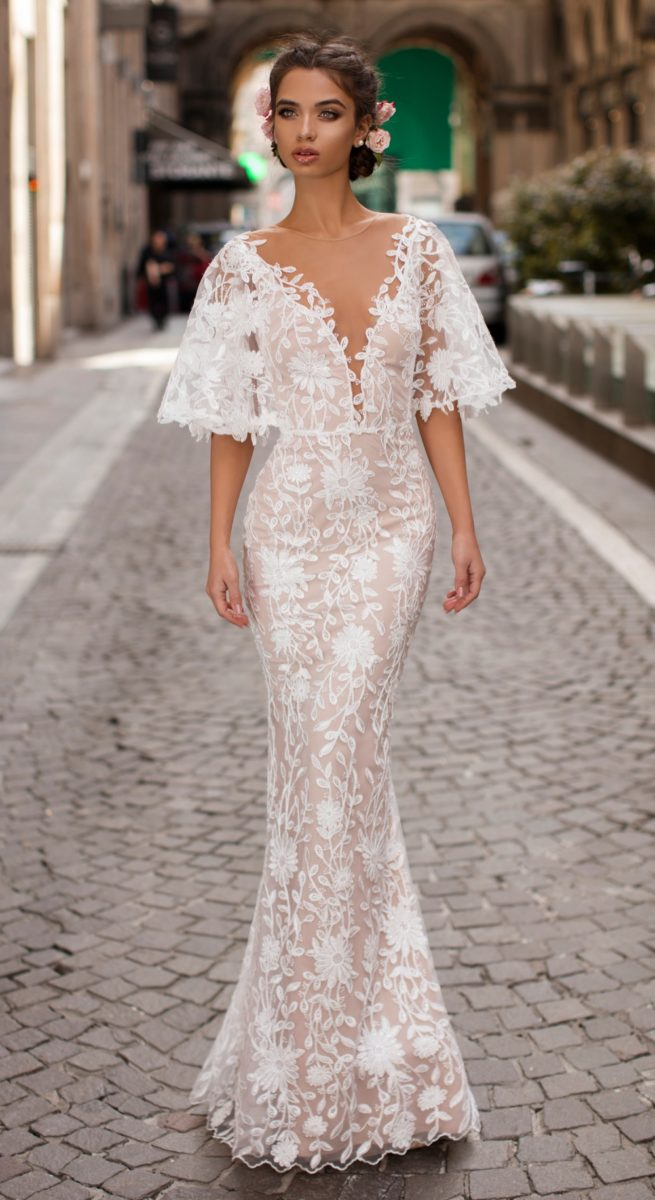 Kimono sleeve lace wedding dress