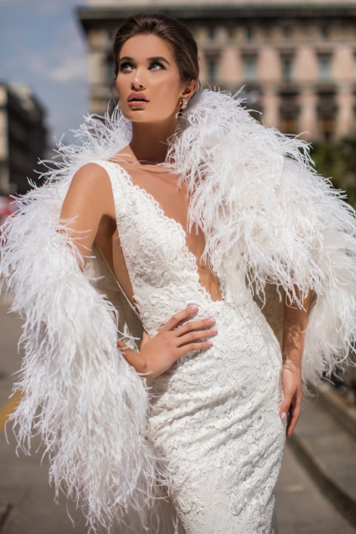 Feather boa wedding dress
