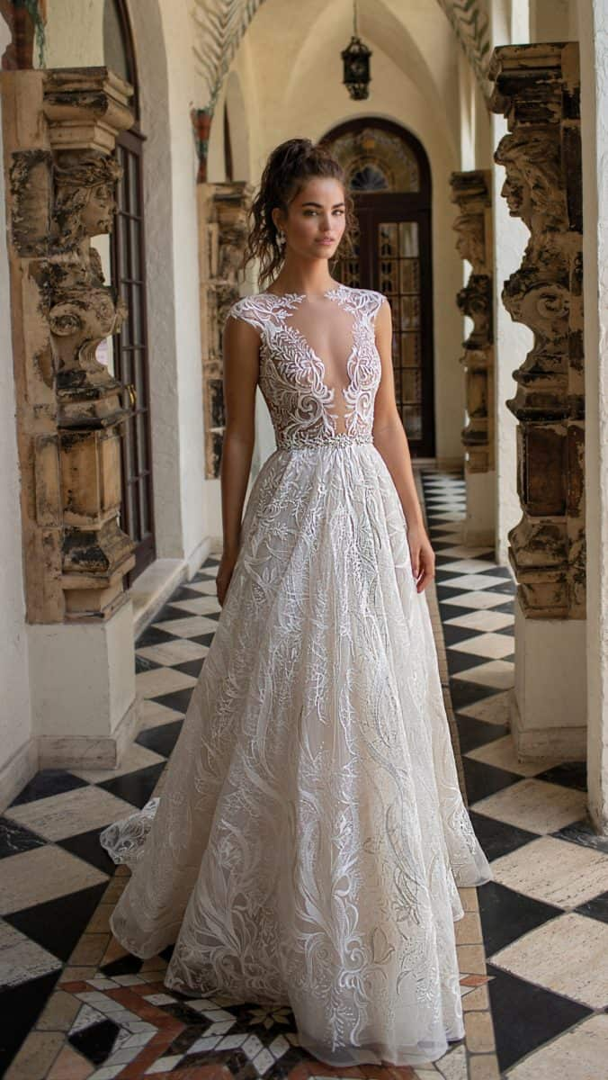 Amazing sheer lace Berta Wedding Dresses Spring Summer 2019