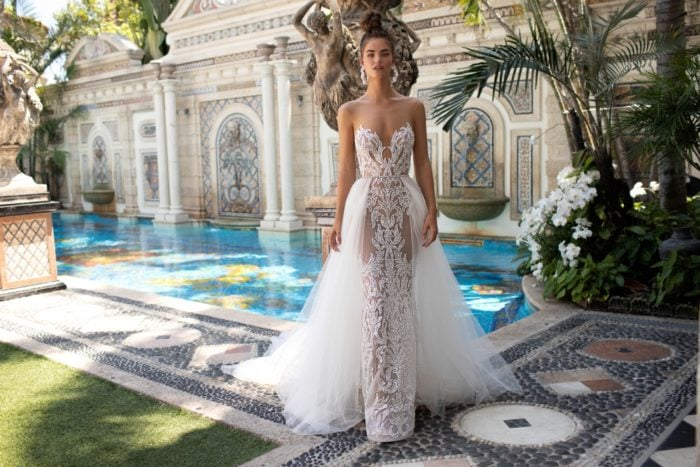Berta Designer Wedding Dresses with overskirt