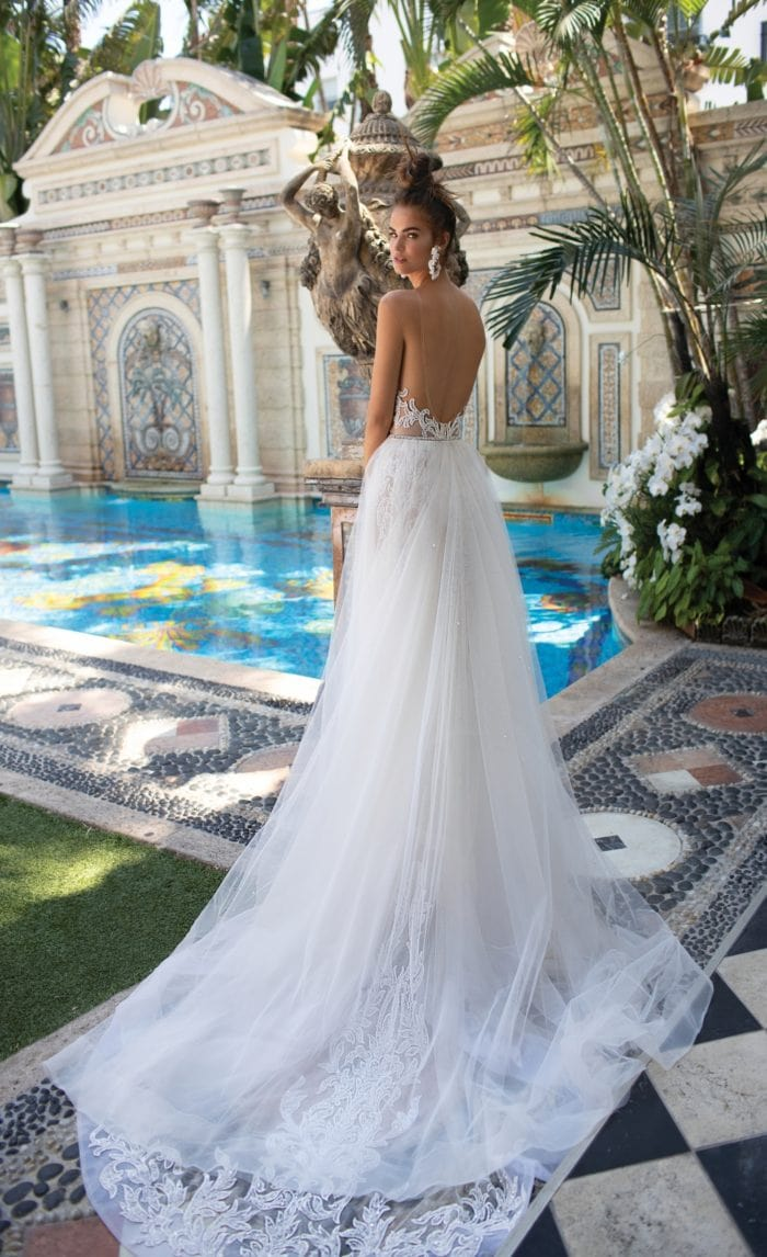Berta Designer Wedding Dresses sheer cathedral train