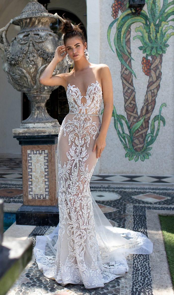 Sheer embellished lace Berta Designer Wedding Dresses