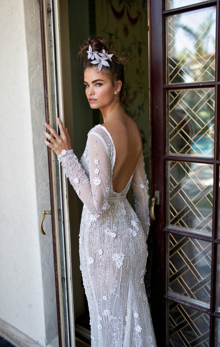 Long sleeve beaded floral bridal gown | Berta Designer Wedding Dresses