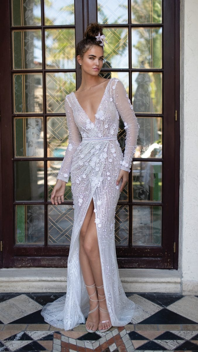 Wrap style v neck designer wedding dress | Berta Designer Wedding Dresses