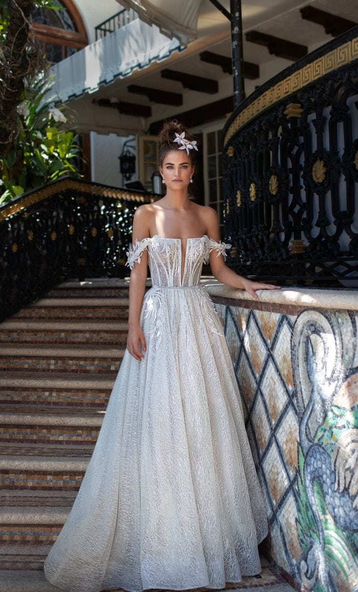 Wedding dress with full skirt and off the shoulder detail | 2019 Spring Bridal Collection by Berta