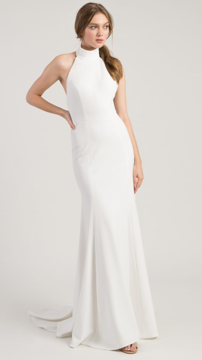 High neck sleeveless modern wedding dress | Dawson Jenny by Jenny Yoo