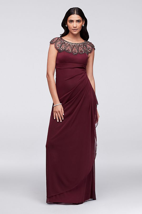Burgundy mother of the bride dress with embellished neckline