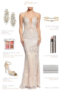 Blush and platinum beaded sparkly gown for a formal