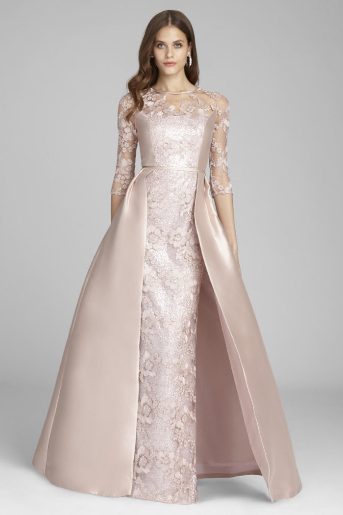 Blush ball gown with overskirt | Pink MOB gown for Black Tie Wedding