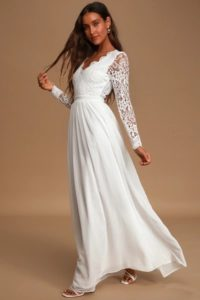 Affordable wedding dress with long sleeves and v neck and lace