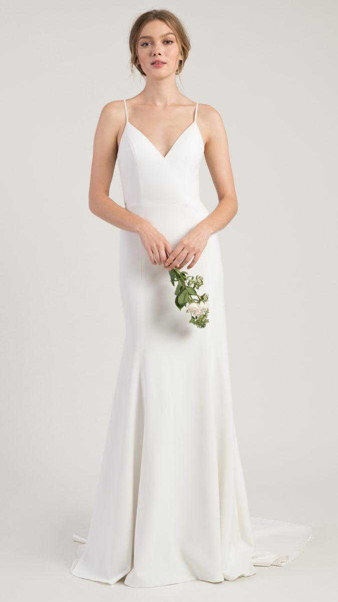 Minimal and sleek ivory bridal gown with straps | Whitley Jenny by Jenny Yoo