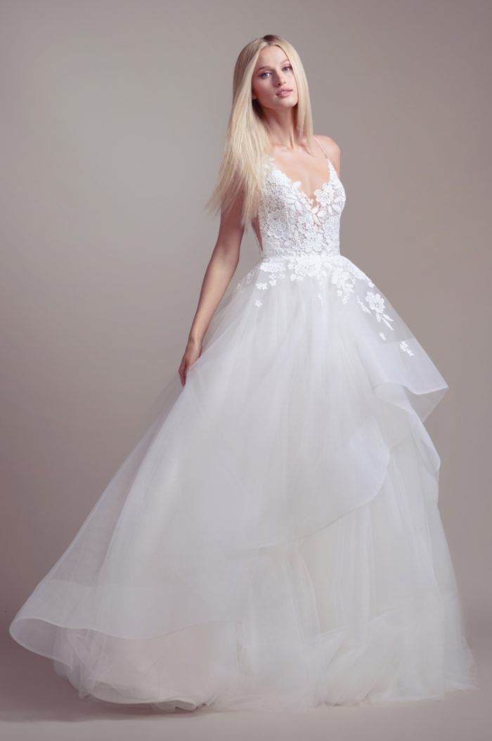 Lace bodice tulle ballgown wedding dress | Clover by Blush by Hayley Paige
