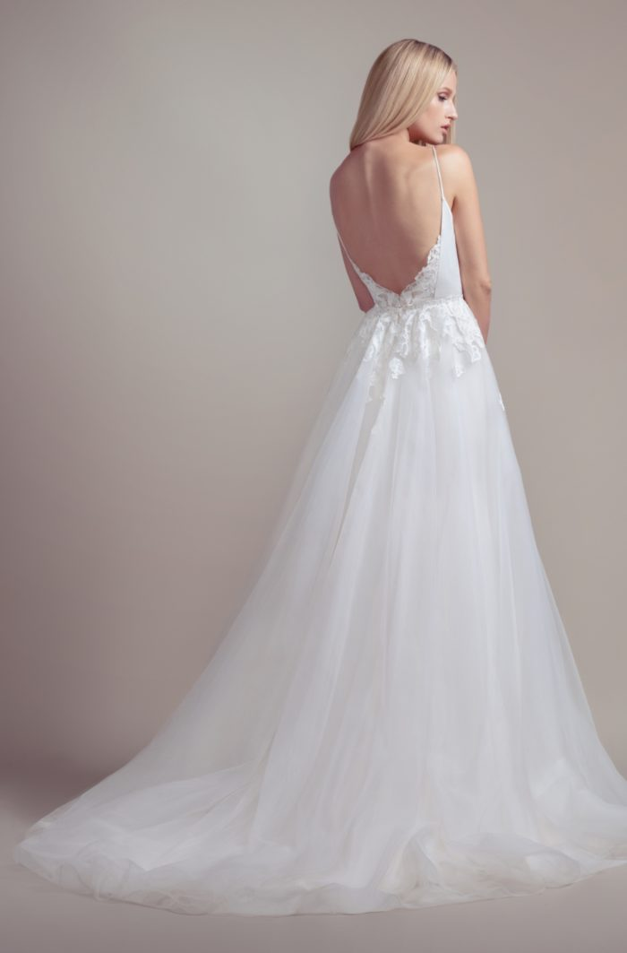 Wedding dresses Blush by Hayley Paige | Back detail of Fawn with overskirt