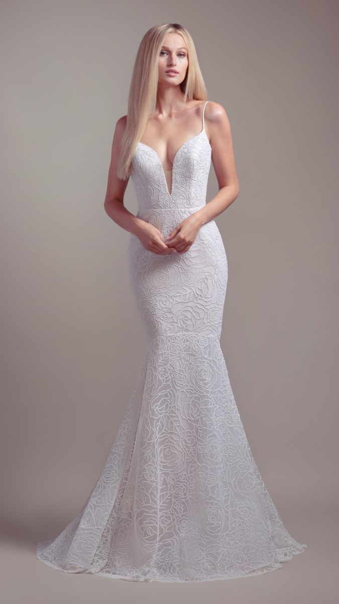 Wedding dress with plunging neckline