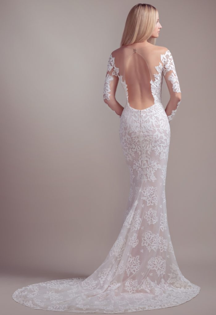 Open back long sleeve wedding dress with train | Jameson Blush by Hayley Paige