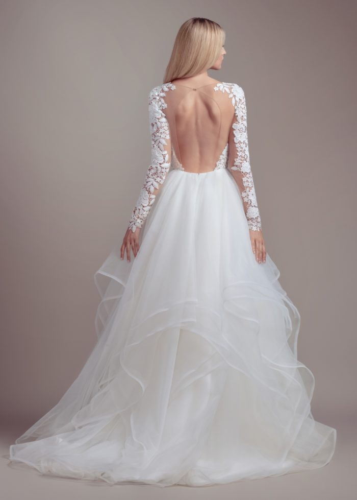 Long sleeve lace v neck wedding dress with tulle