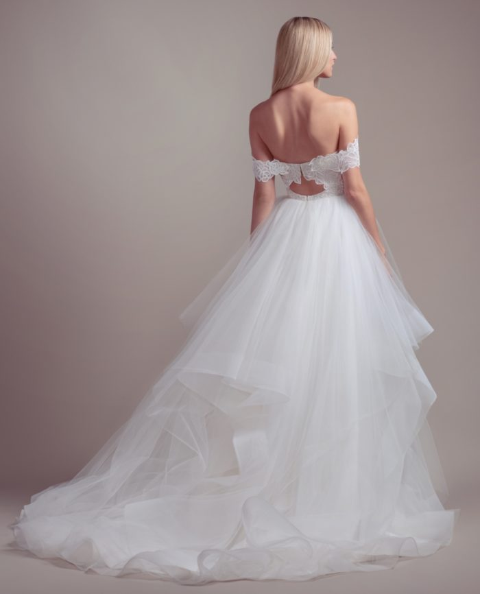Lace cut out ball gown tulle wedding dress