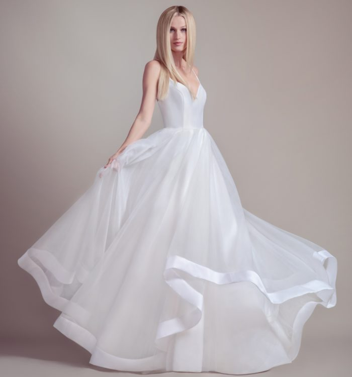 Tiered silk ball gown wedding dress