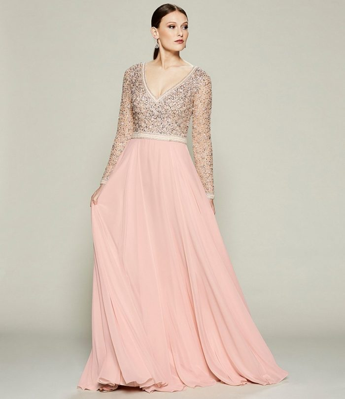 Blush beaded gown with sleeves for mother of the bride