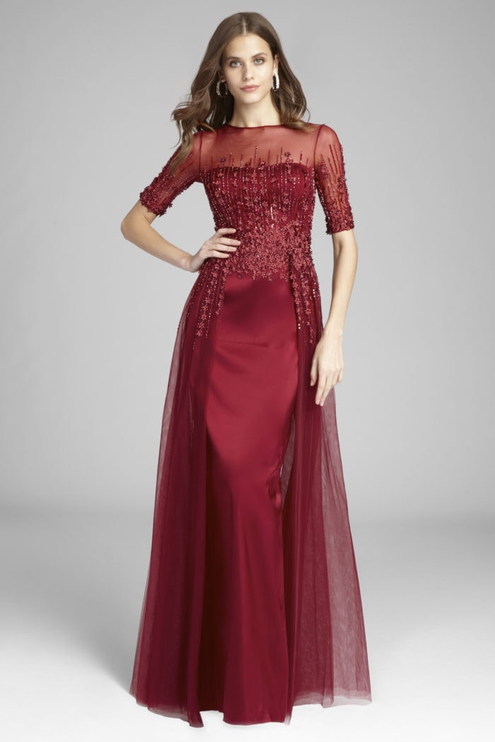 Elegant red beaded evening gown for Mother of the Bride