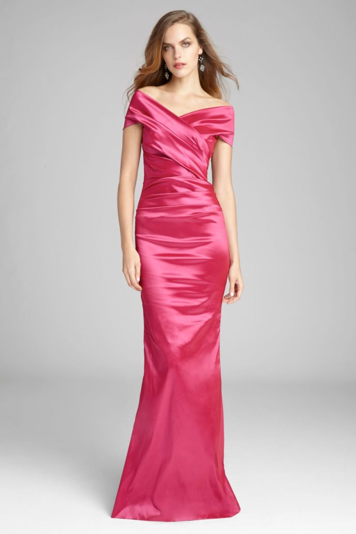 Hot pink off the shoulder gown
