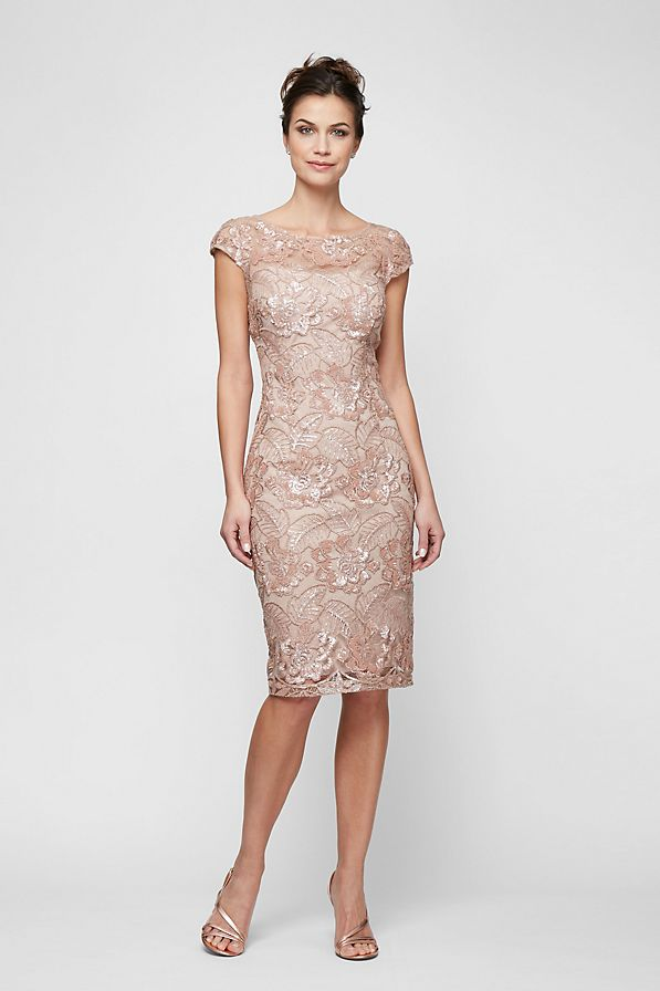 Short rose lace sheath dress for Mother of the Bride