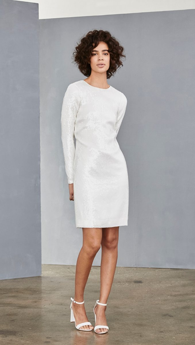 White sequin shift dress with long sleeves | Little White Dresses for Brides Amsale