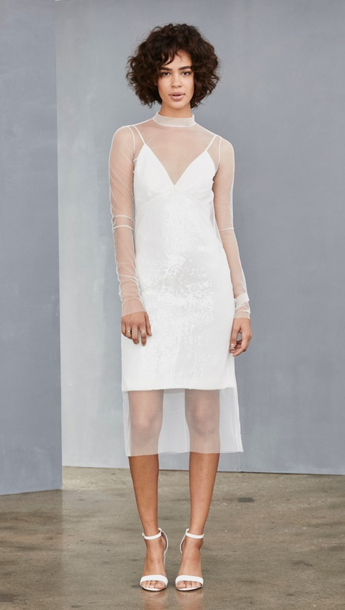 Little white sequin slip dress with sheer overlay