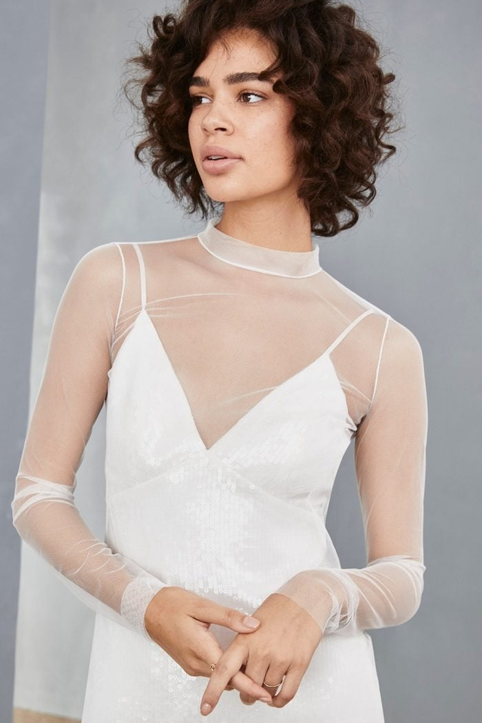 Sheer modern short white dress for wedding