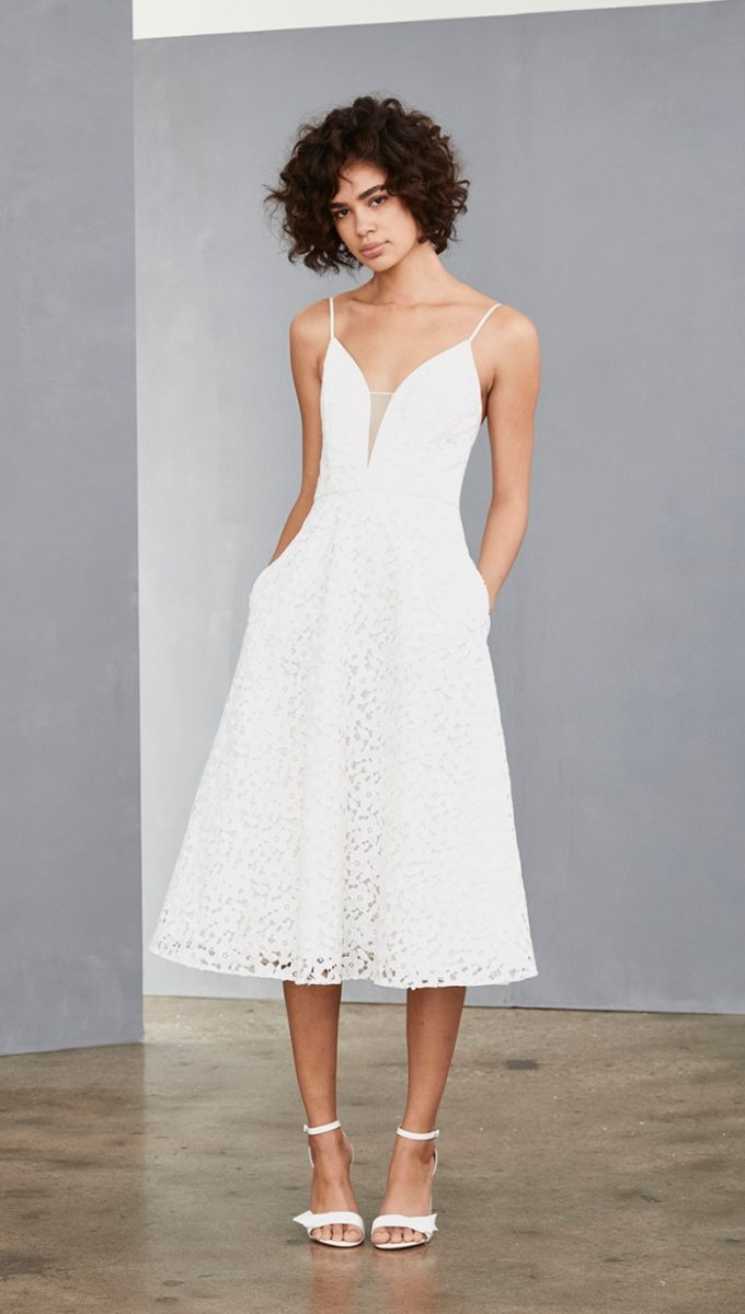 White lace midi dress with spaghetti straps
