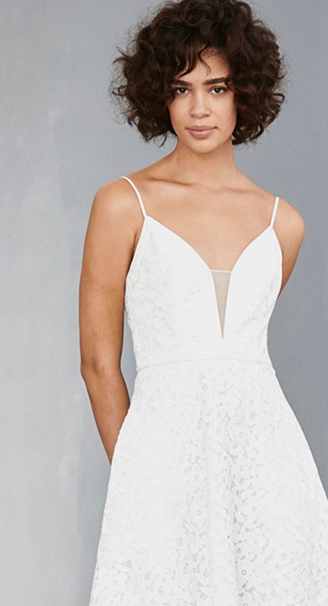 Plunge neckline white midi dress | Amsale