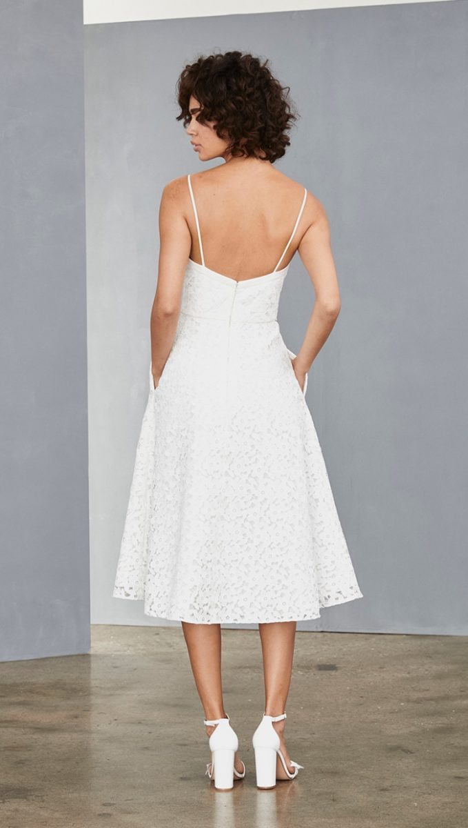 Spaghetti strap white lace dress for wedding or bride