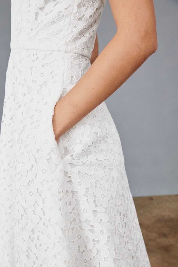 Little white lace eyelet dress with pockets