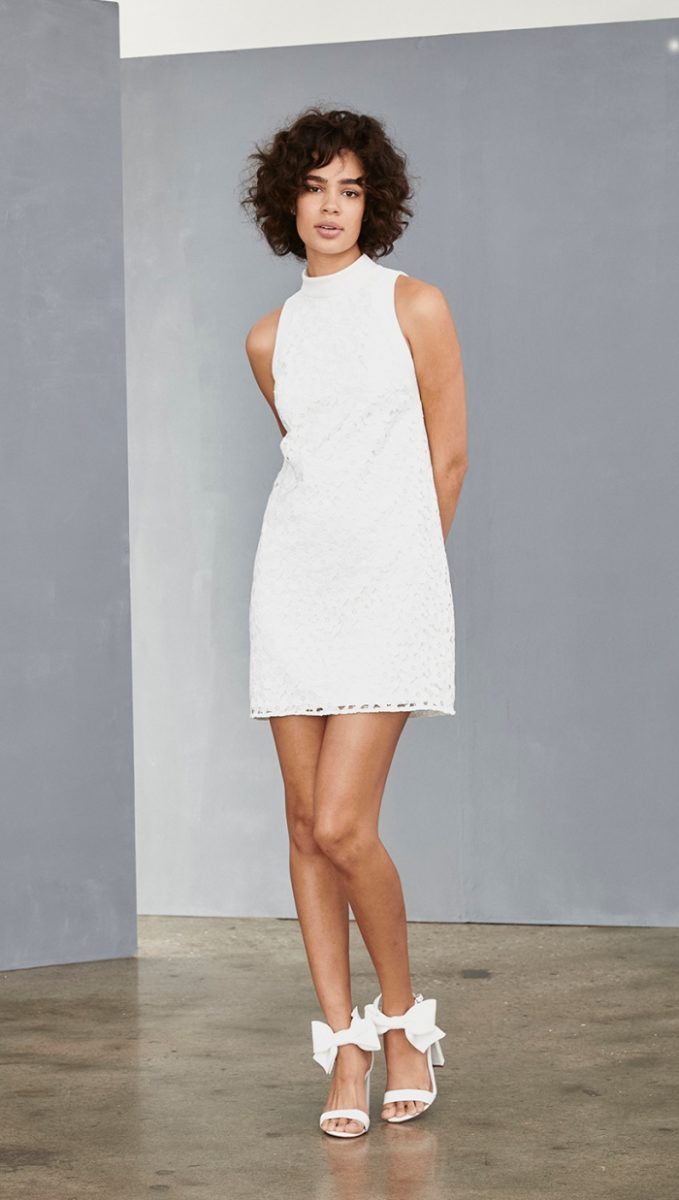 High neck white lace shift dress