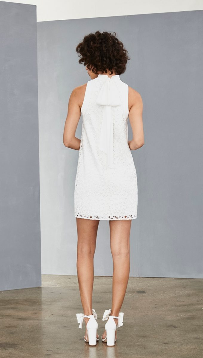 High neck white lace mini dress with tie | Amsale