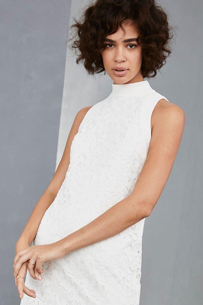 High neck mini dress   Amsale Little White Dresses