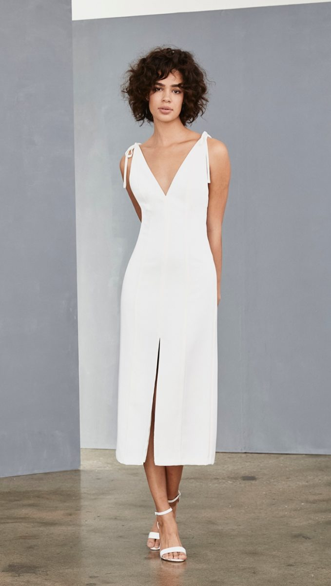 Amsale slim v neck white dress with ties at shoulder