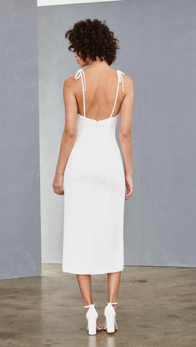 Slim white midi dress for bride
