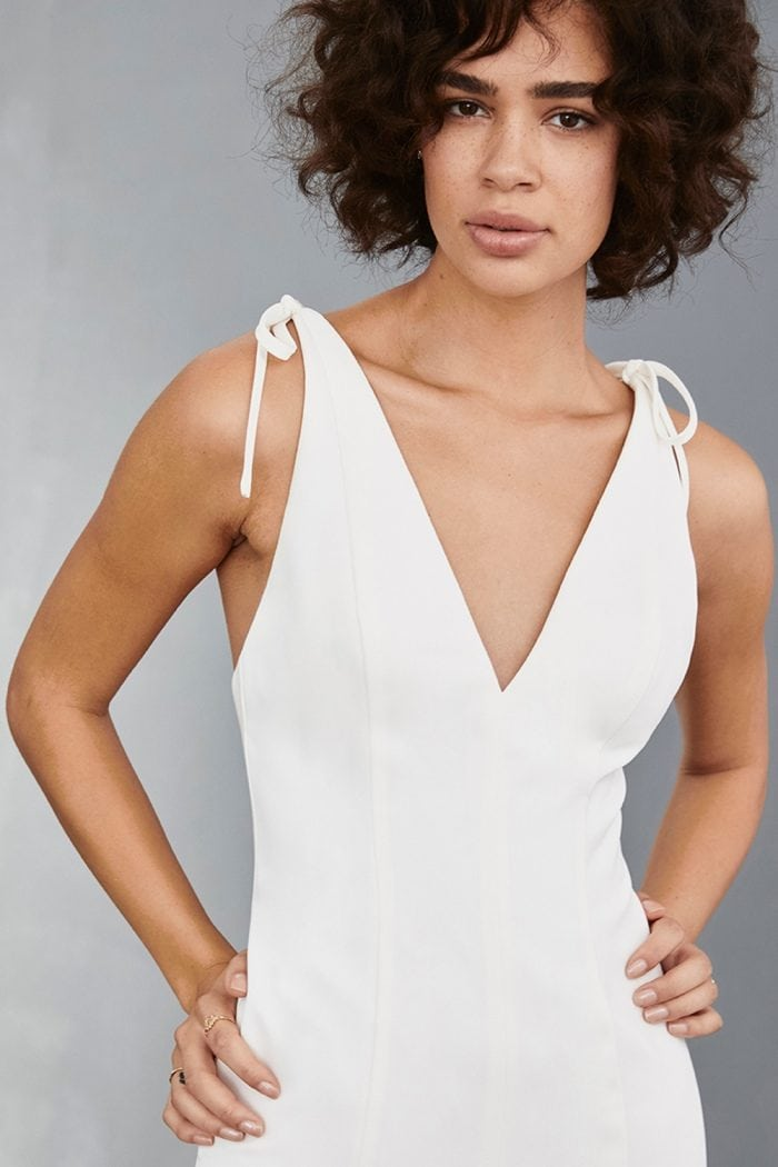 V neck white dress with shoulder ties