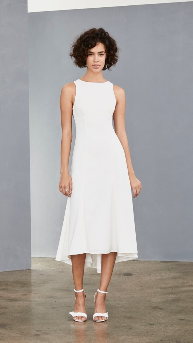 High neck hi low white midi dress | Amsale