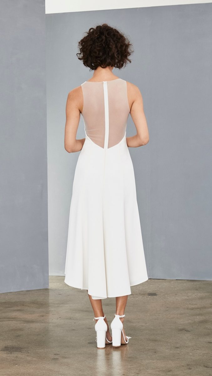 Illusion back white midi dress