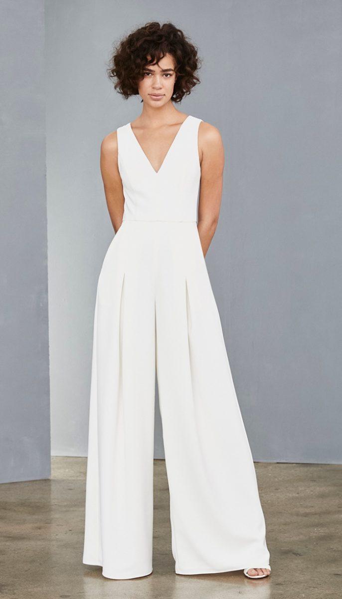White Amsale bridal wide leg jumpsuit