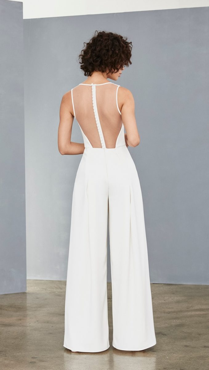 Sheer illusion back bridal jumpsuit by Amsale