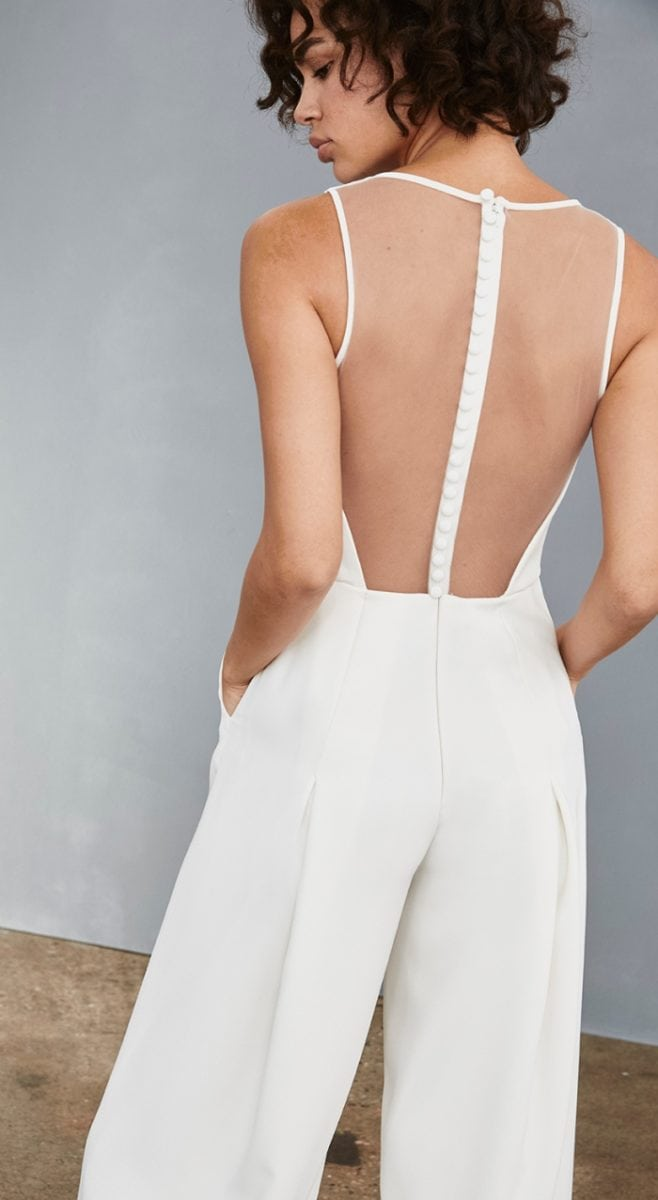 Bridal jumpsuit with pockets