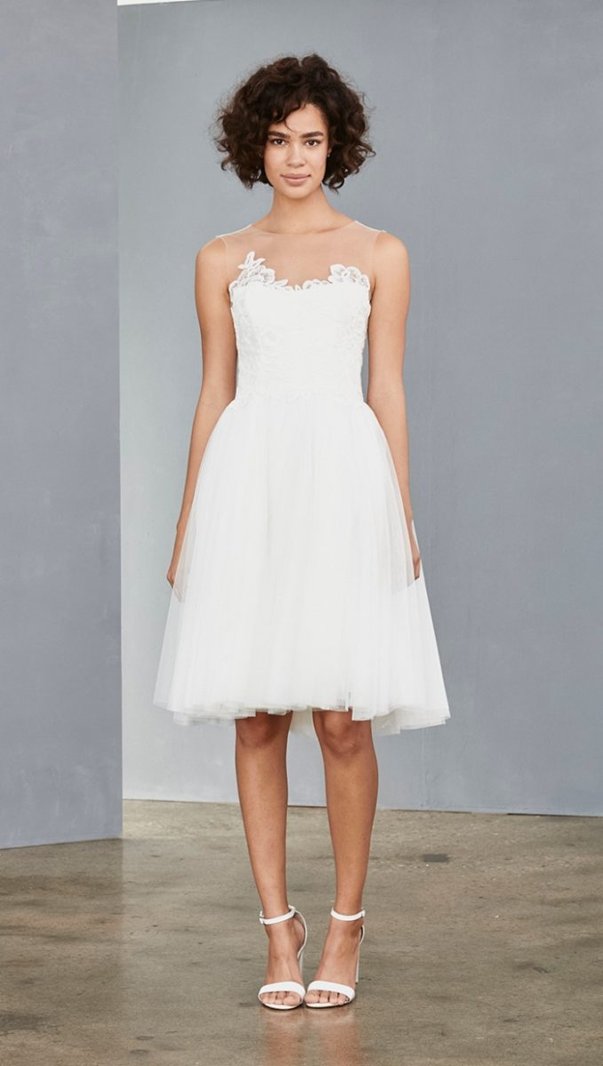 Tulle illusion short white dress from Amsale