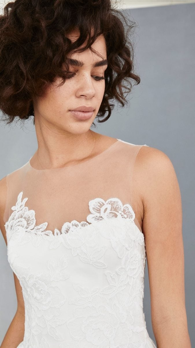 Illusion neckline detail short wedding dress | Amsale Little White Dresses
