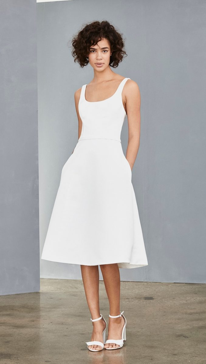Scoop neck white dress with a line skirt
